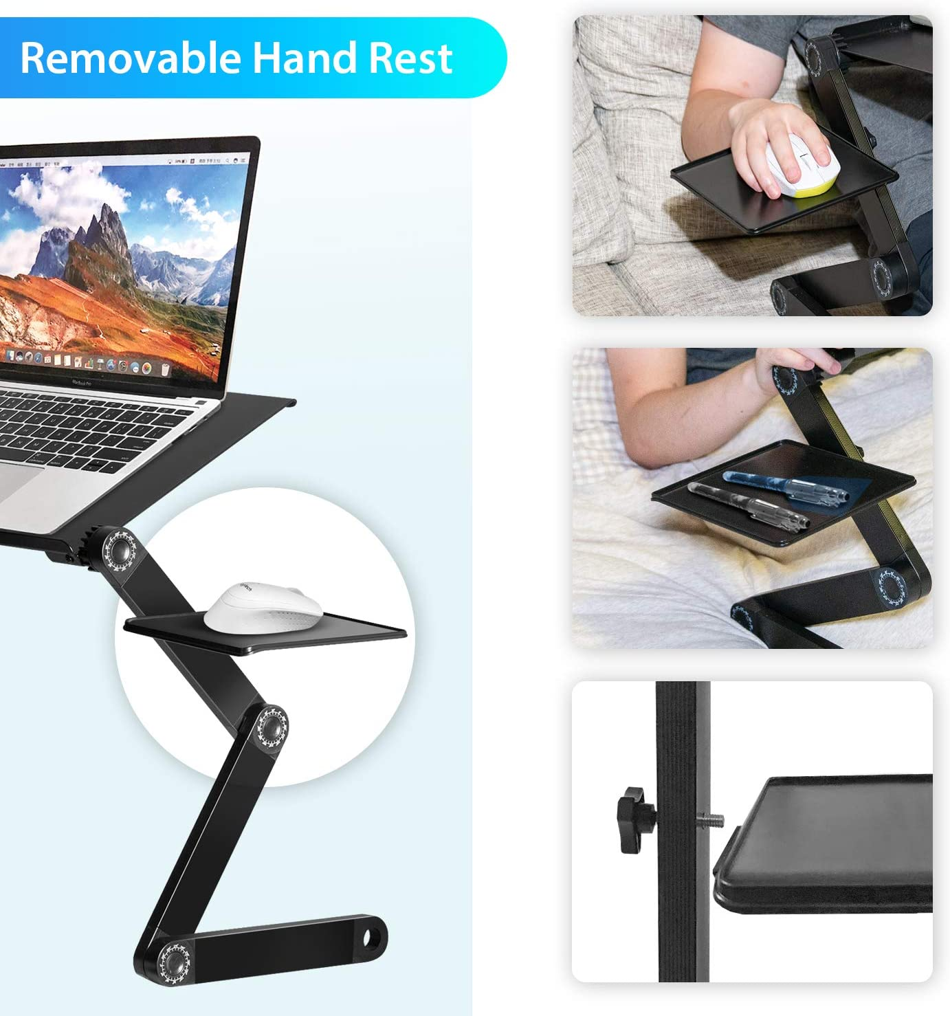 YOSHIKO Foldable Lap Desk Laptop Stand for Bed Foldable Standing Desk Height Adjustable Cozy Laptop Stand for Desk Portable Bed Desk Bed Tray for Couch and Sofa