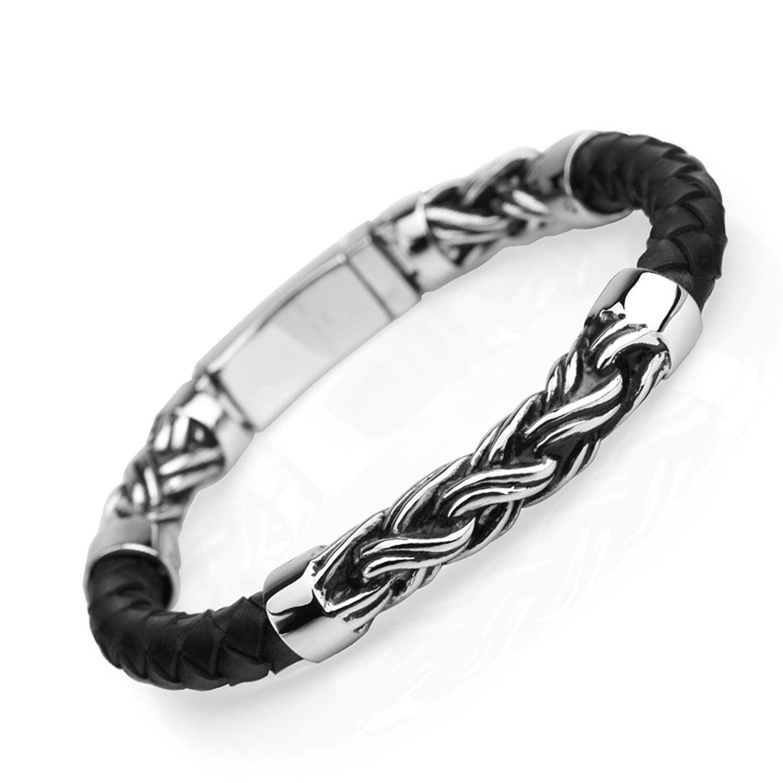 255a70e3ff4c6 Aienid Bracelet Argent Massif Bracelet Homme Bracelet en Cuir Tressé  Bracelet: Amazon.fr: Bijoux