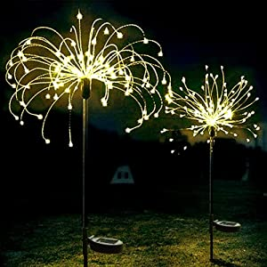 XVZ Solar Garden Light, 2 Pack 120 LED Solar Powered Firework Light,2 Modes and Waterproof DIY Outdoor Decoration Light for Walkway Pathway Backyard Christmas Party Decor(Warm White)