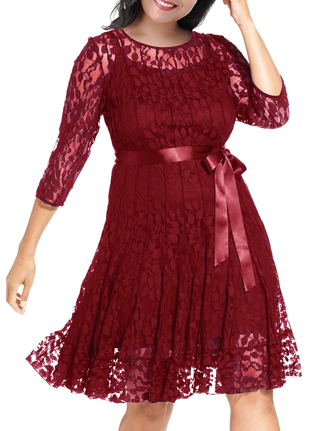 Nemidor Women's Illusion Floral Lace 3/4 Sleeves Plus Size Cocktail Dress