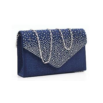 b3eeb5d14c6ee Damen Envelope Clutch Bag Abendtasche Braut Hochzeit Tasche Handtasche (navy  blau)