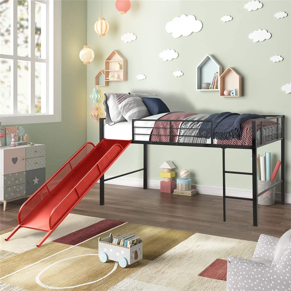 Amazon Com Metal Twin Low Loft Bed With Slide Guardrails For Toddlers Boys Girls Bedroom Decorating Ideas Red Kitchen Dining