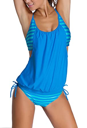 d63848f0198cb EVALESS Womens Lined Up Tankini Top and Bikini Bottom Swimsuit Set Small  Size Blue