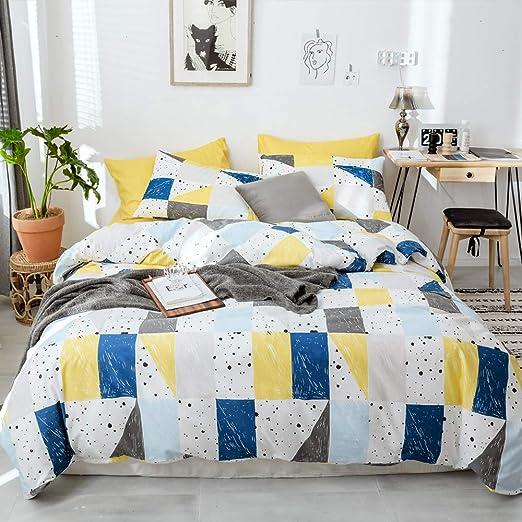 HIGHBUY 100/% Cotton Geometric Pattern Duvet Cover Set Queen Light Gold Modern Design Grid Plaid Print Bedding Sets 3 Piece with Zipper Closure Corner Ties