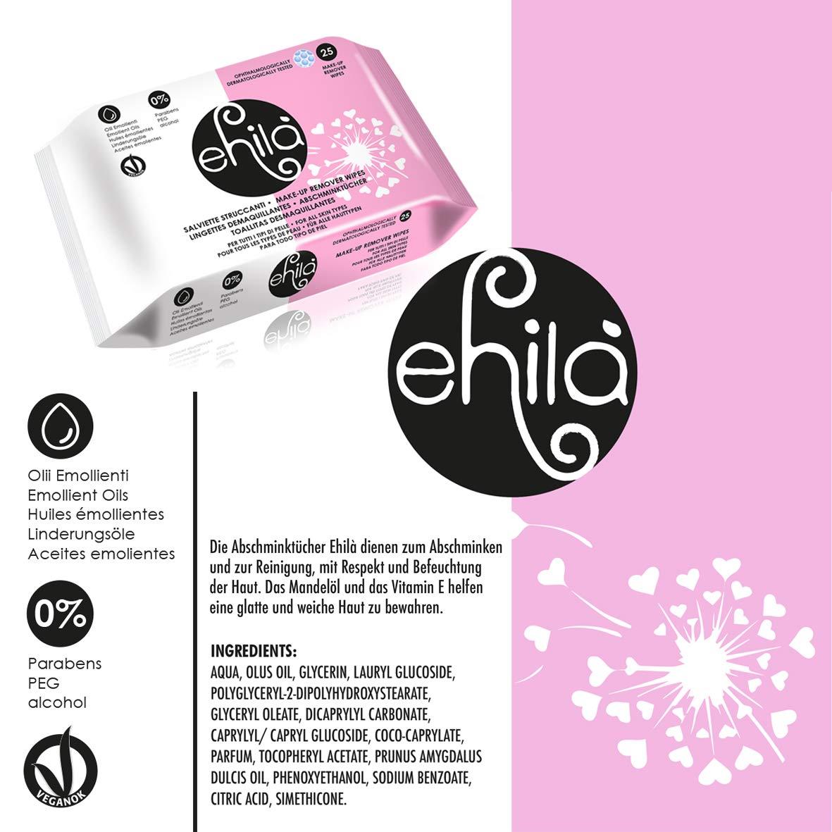 Ehilà - Toallitas Desmaquillantes con Aceites Emolientes y Vitamina E - Caja de 12 paquetes (Total 300 Toallitas)