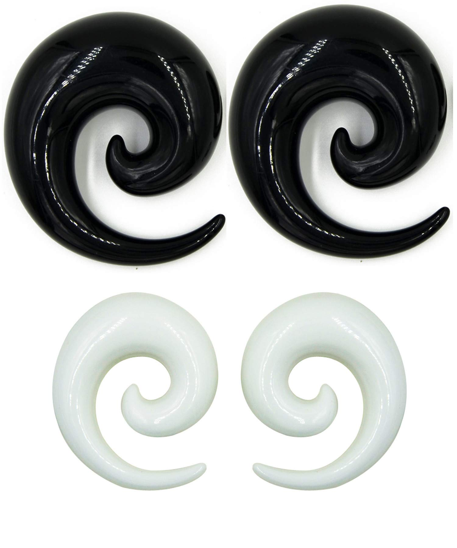 Zaya Body Jewelry 2 Pairs Black White Ear Tapers Spirals Horseshoes Gauges 24mm 22mm 20mm 18mm 16mm 14mm 12mm 10mm (20mm) by Zaya Body Jewelry