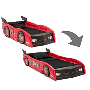 Delta Children Grand Prix Race Car Toddler & Twin Bed - Made in USA, Red