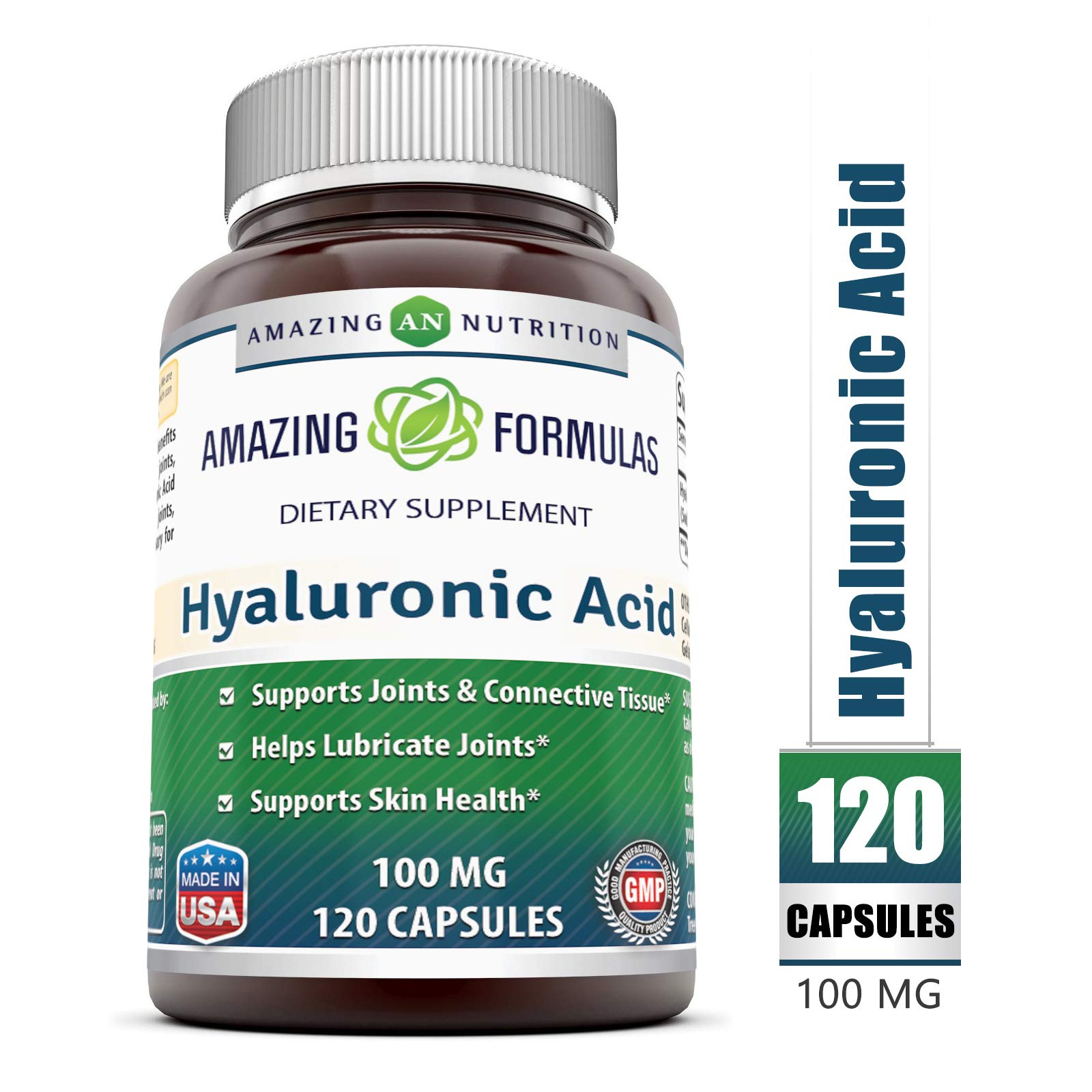 Amazing Formulas Hyaluronic Acid 100 mg 120 Capsules - Support Healthy Connective Tissue and Joints - Promote Youthful Healthy Skin by Amazing Nutrition