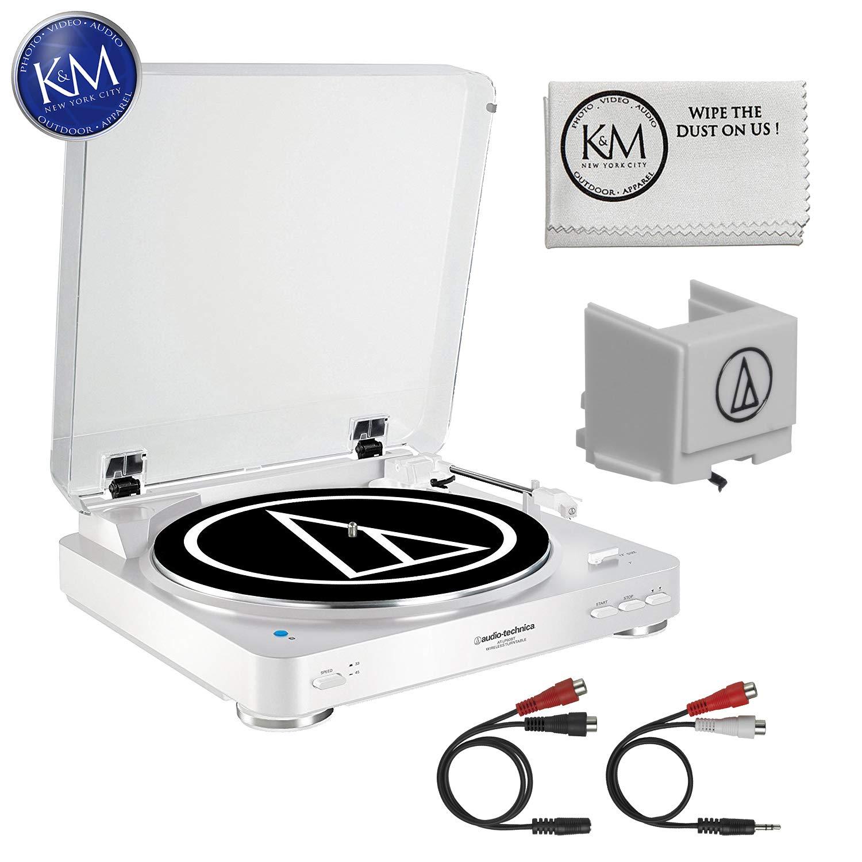 Audio-Technica AT-LP60 Bluetooth Turntable (White) + Extra ATN3600L Stylus + K&M Cloth