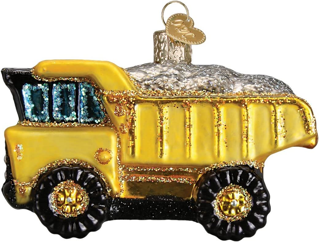 Old World Christmas Glass Blown Ornament Toy Dump Truck (44085)
