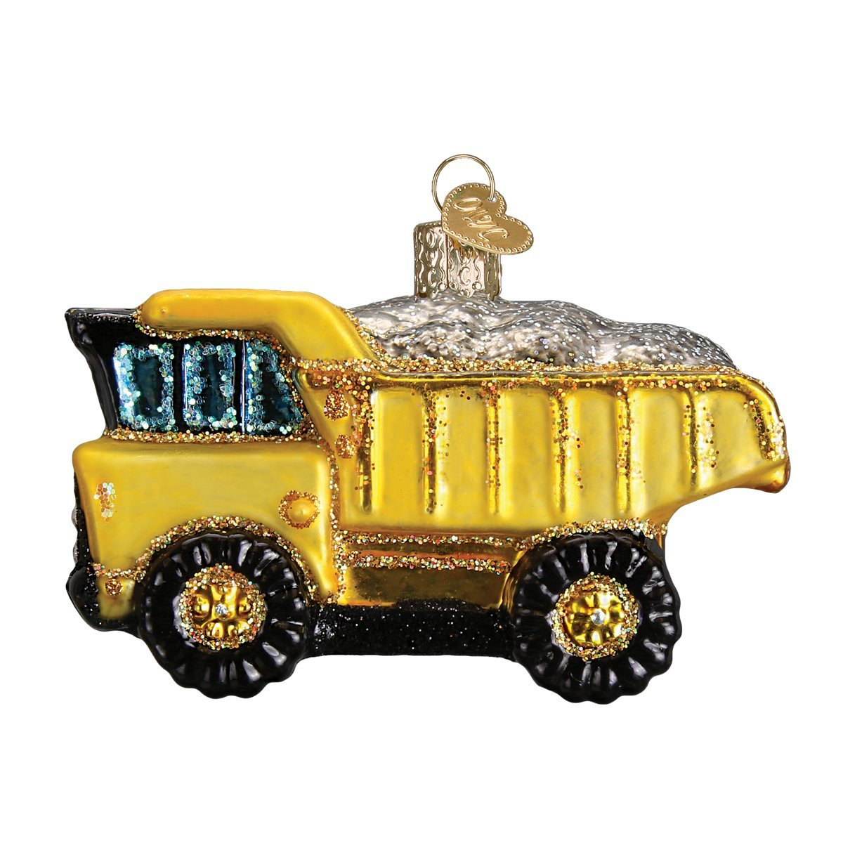 Old World Christmas Ornaments: Toy Bulldozer Glass Blown Ornaments for Christmas Tree 44086