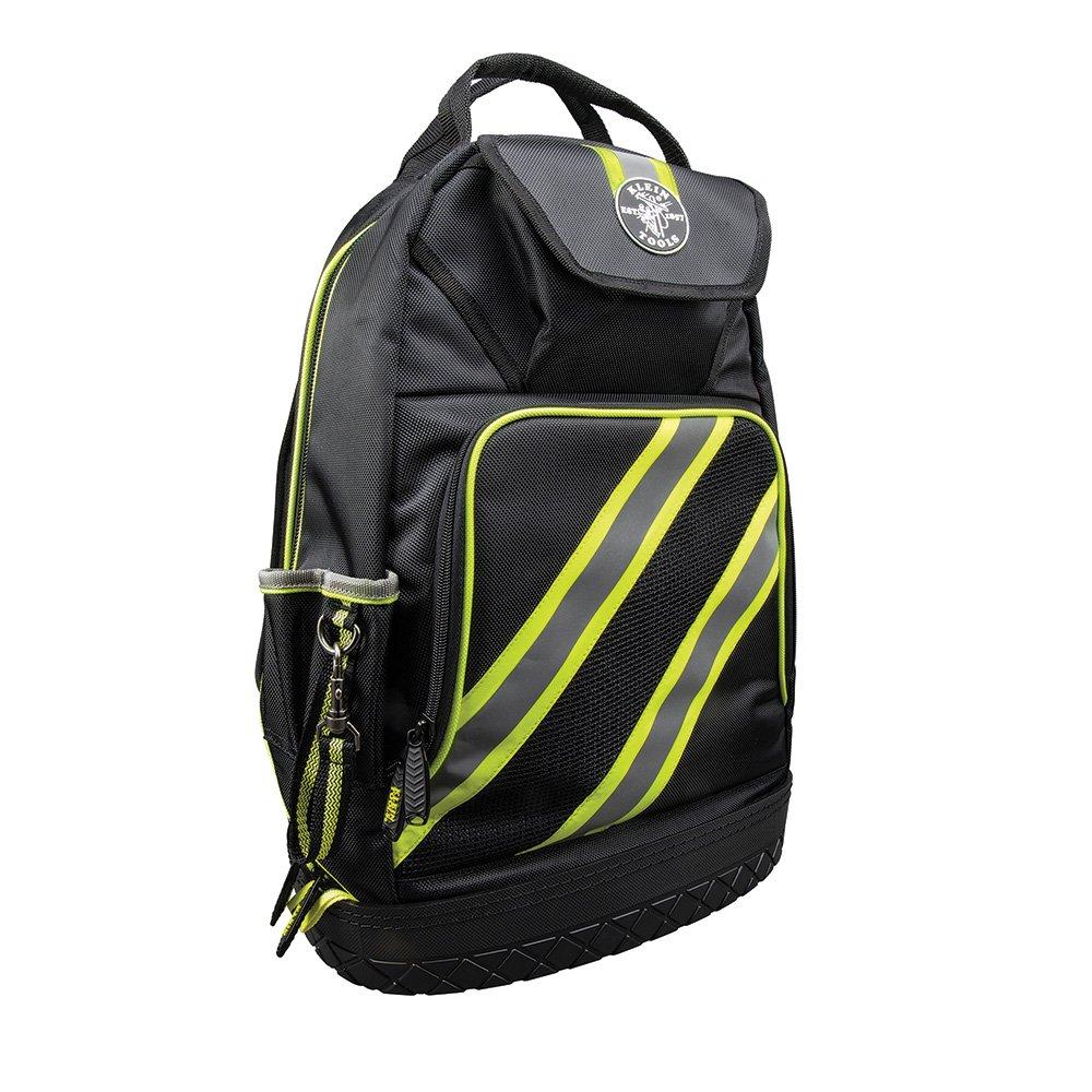 Backpack, Electrician Tool Bag, Tradesman Pro Organizer, Hi Viz, 39 Pockets and Molded Base Klein Tools 55597