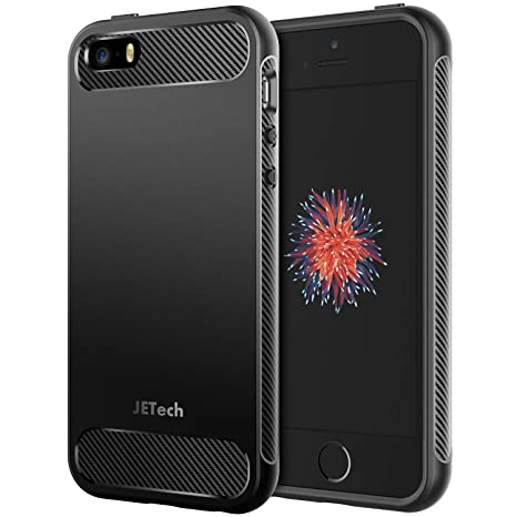 JETech Case for Apple iPhone SE, iPhone 5s and iPhone 5, Protective Cover with Shock-Absorption and Carbon Fiber Design, Black