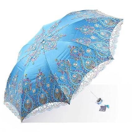 Paraguas Sun Bordado protección Solar UV protección Doble Uso Doblar Diosa Doble QIQIDEDIAN (Color :