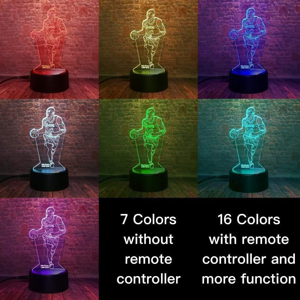 Kobe Bryant Figura Ni/ños Led L/ámpara de luz nocturna para ni/ños Dormitorio Luz decorativa Con pilas Luz nocturna Ni/ño Regalo de cumplea/ños