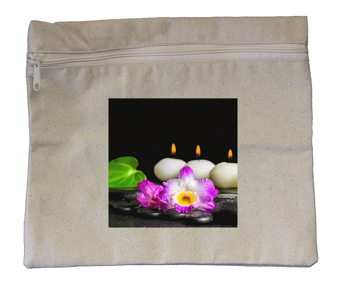 Canvas Zipper Pouch Tote Bag 10''X12'' Spa Concept White Candles Orchid Flower