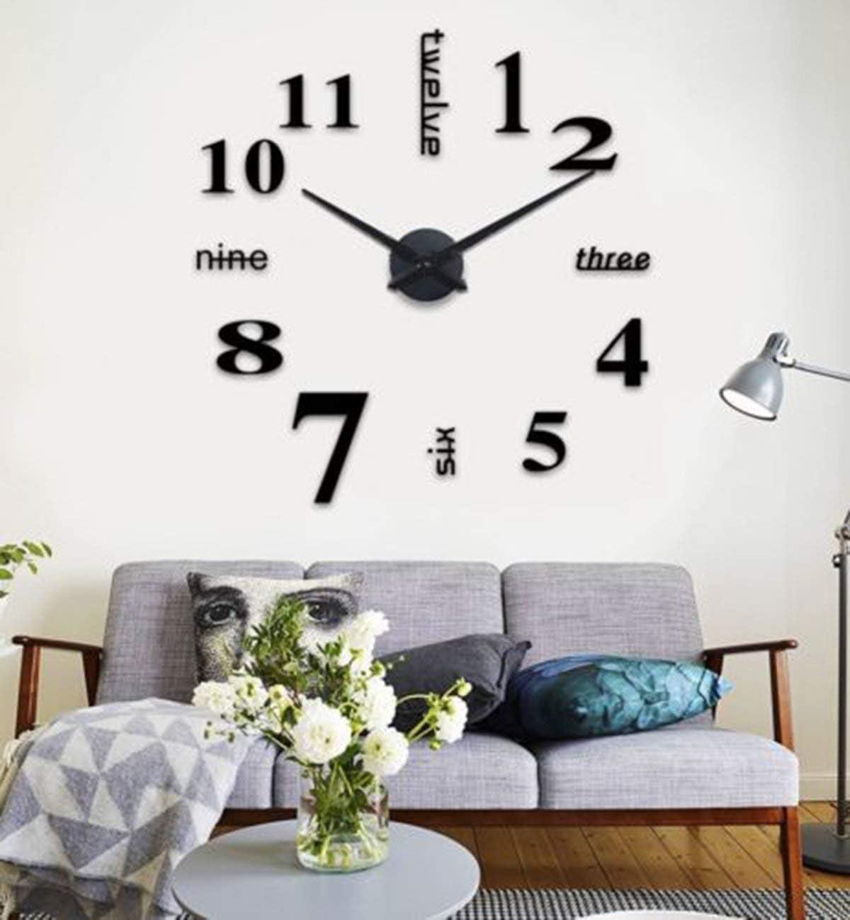 Noir DIY Creative Amovible Moderne 3D Horloge Murale avec Num/éros Adh/ésif Acrylique pour la D/écoration de La Maison Embellissement