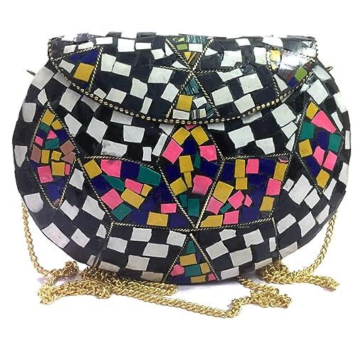 Regalo étnico para las mujeres niñas Metal Bags Mosaic Clutch en venta tribanda étnica Cartera vintage