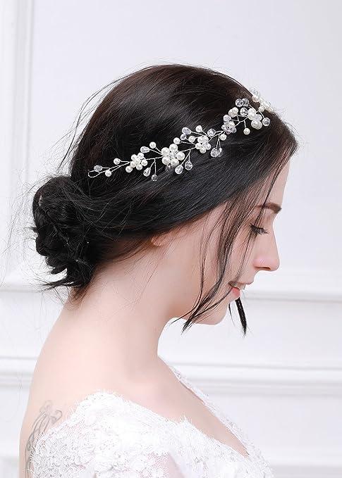 kercisbeauty novia perlas de plata pelo Vine Flor Diadema Tocado de flores  Halo de cristal Vintage f0b510fbbfbc