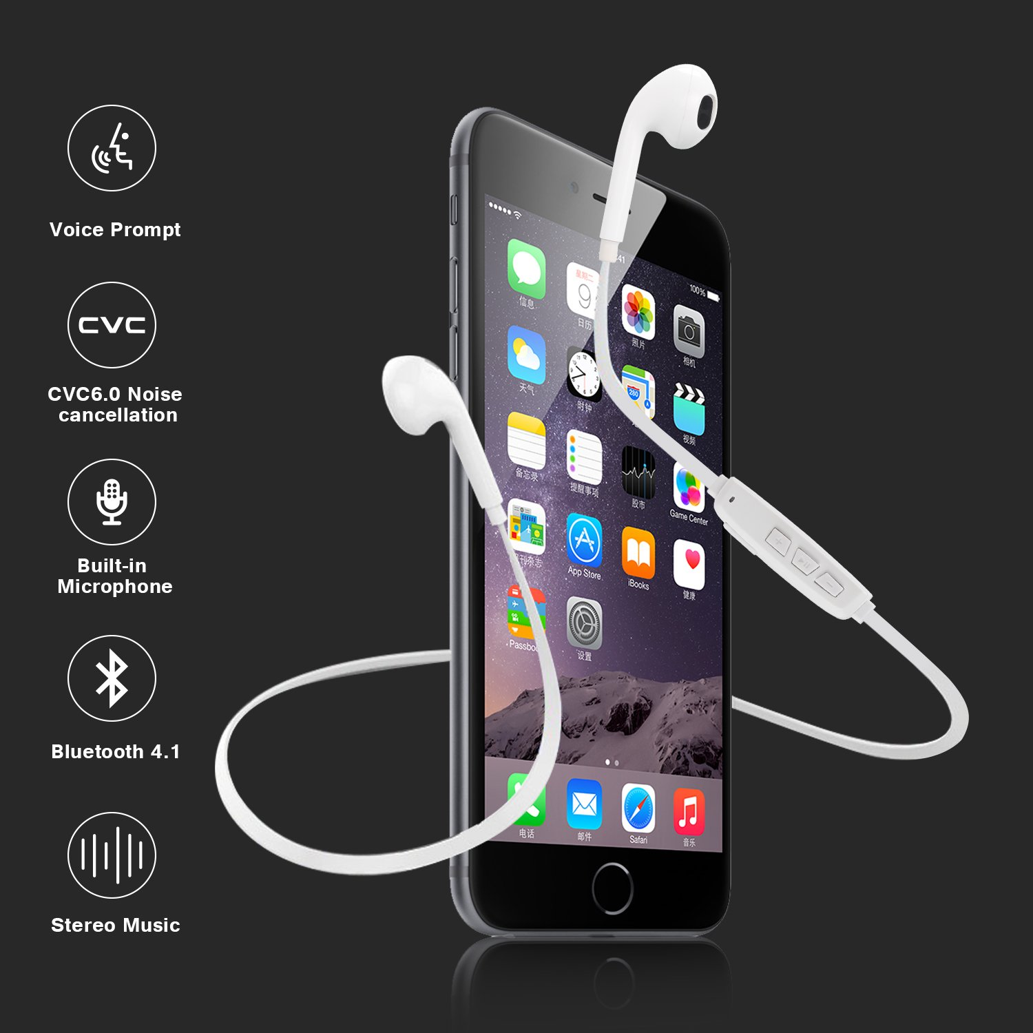 Bluetooth Headphones, Parasom A9 In-Ear Wireless Earbuds, Sweatproof Stereo Bluetooth Earphones, Noise isolation with Mic, Secure-Fit, Comfortable & Lightweight (White)