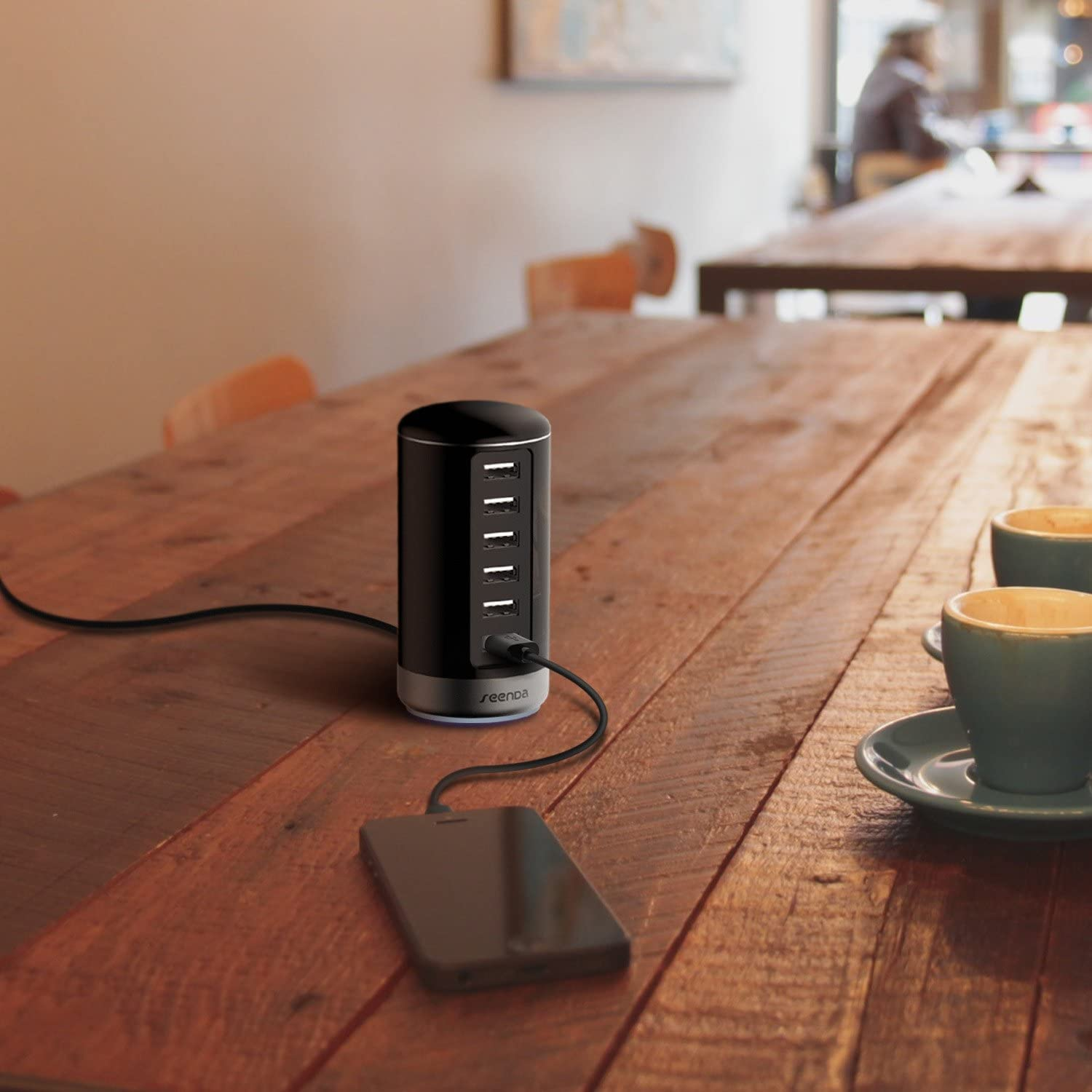 seenda USB Charger Black 6 Port USB Wall Charger USB Charging Stations with Smart Identification