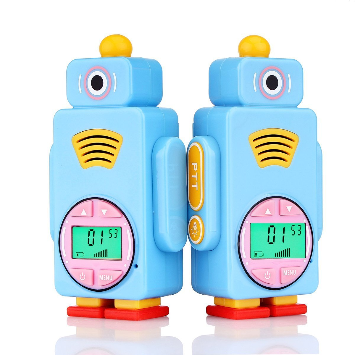 Bleu, 1 Paire Retevis RT36 Talkie Walkie Enfants Rechargeable PMR446 8 Canaux 7 Couleurs Diff/érentes de l/'/écran LCD Fonction VOX Lampe de Poche Talkie Walkie Jouet