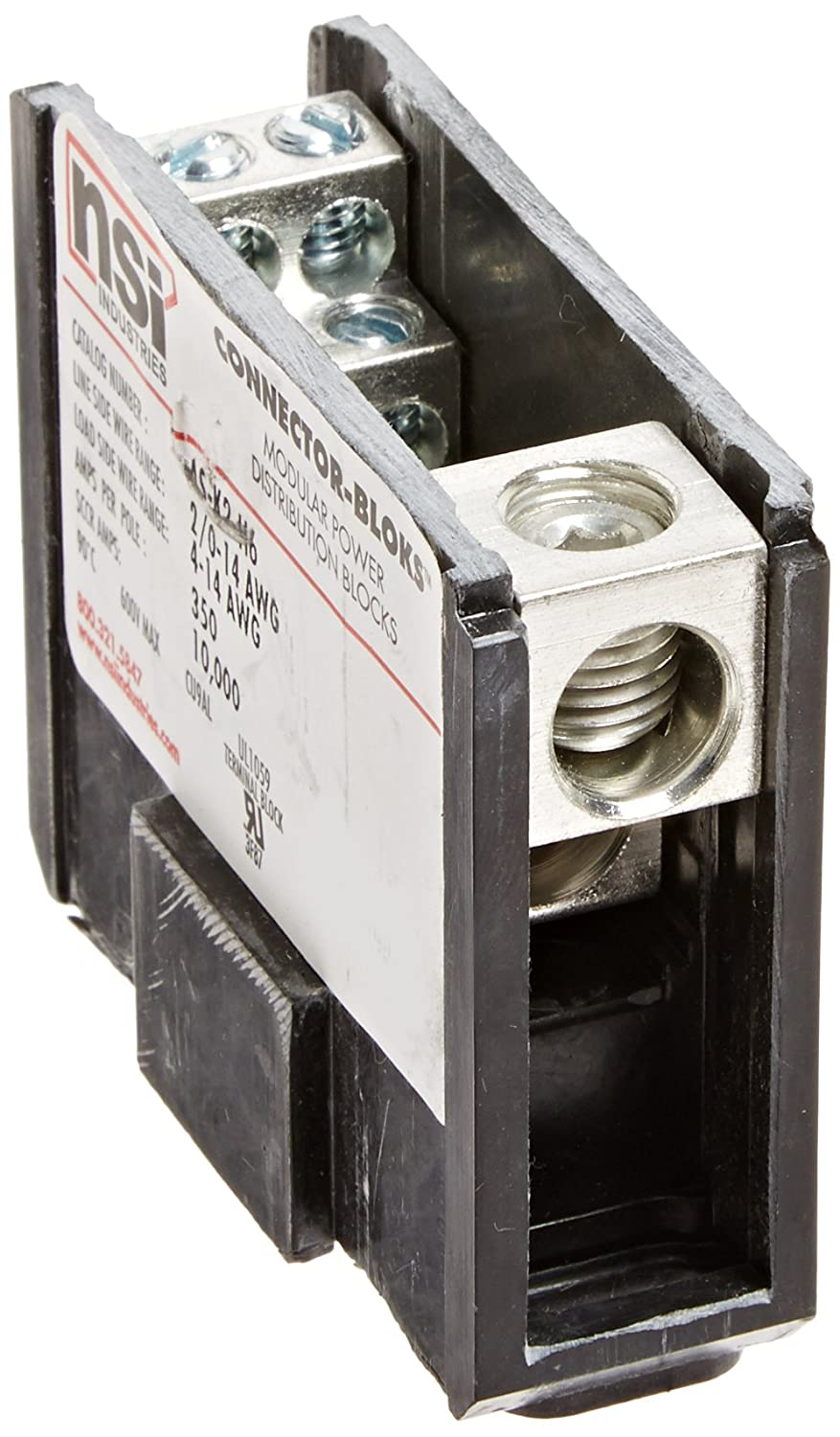 Double Primary Power Distribution and Terminal Block 2//0-14 AWG Line and 4-14 AWG Load Side Configuration 2.90 Length 1.04 Width 2.34 Height 2.90 Length NSi Industries AS-K2-H6 Multiple Secondary 1.04 Width Connector Blok 2.34 Height