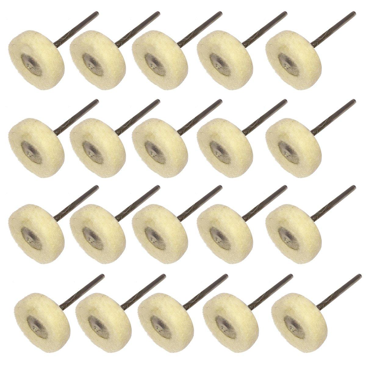 NIUPIKA Mounted Wool Felt Polishing Buff Wheel with Mandrel for Dremel Rotary Tools 2.35mm Shank Pack of 20 NIUPIKA Online NP-44
