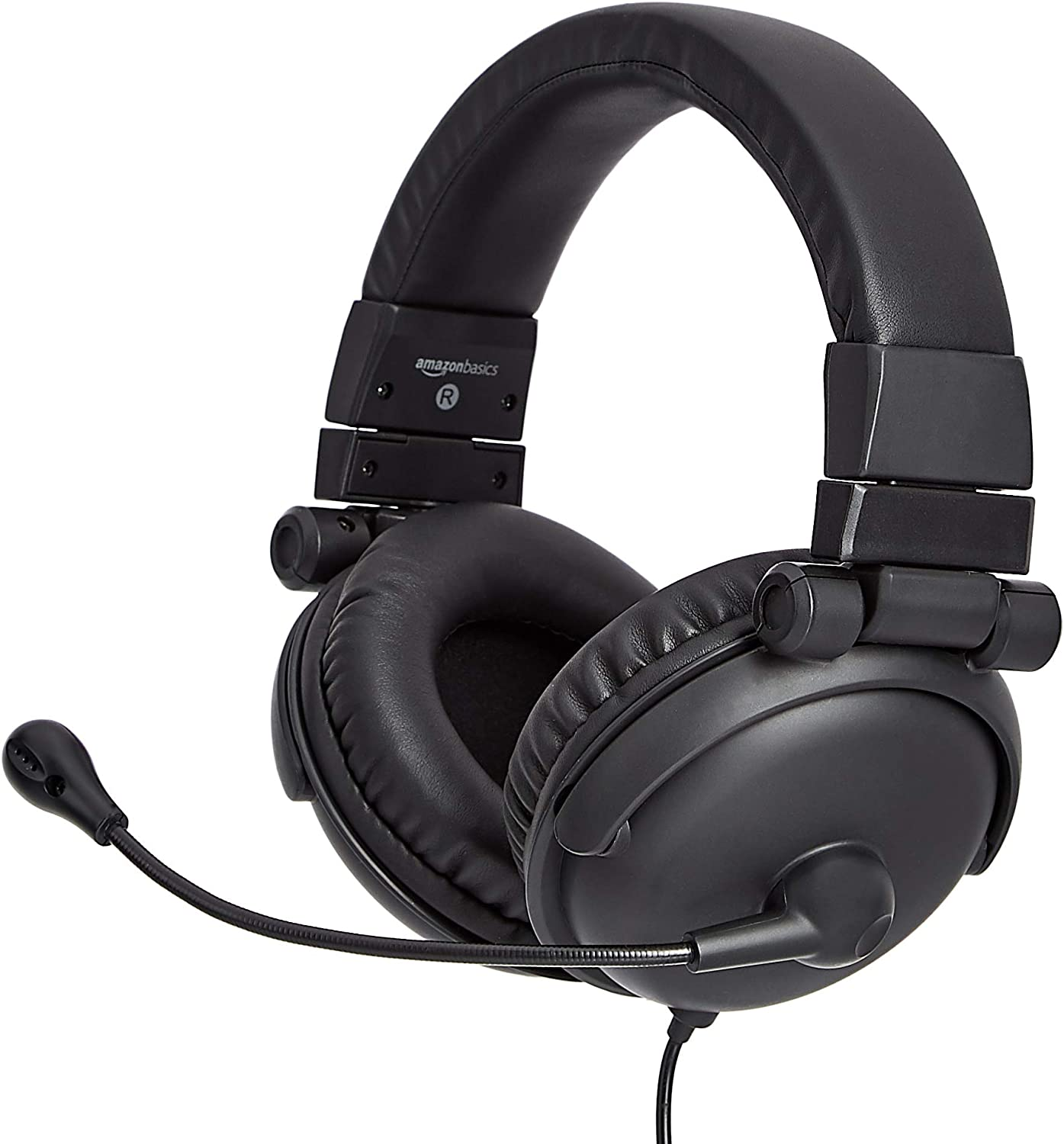 AmazonBasics Over-Ear Hi-Fi Foldable and Adjustable USB Headset with Mic and Mute
