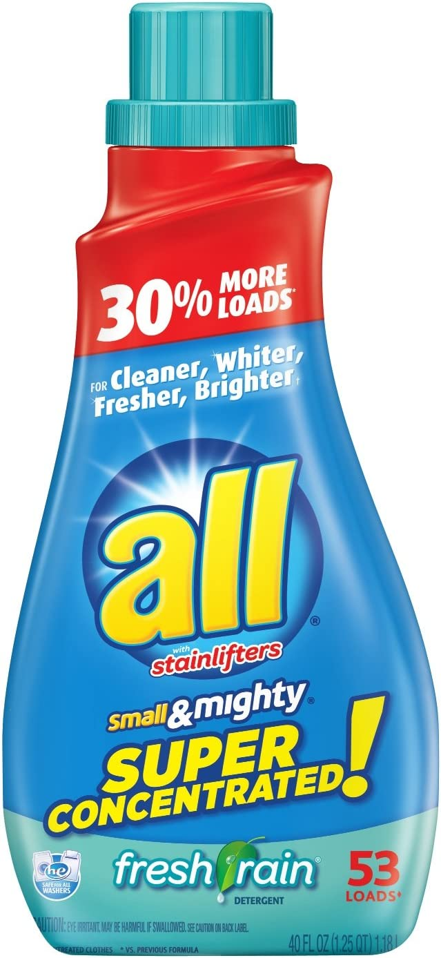 all Small & Mighty Super Concentrated Liquid Laundry Detergent, Fresh Rain, 40 Fluid Ounces, 53 Loads