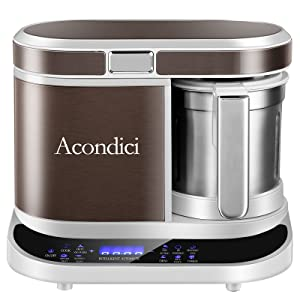 Baby Food Maker Baby Food Processor, Acondici BPA-Free Multi-Function Steamer Grinder Blender, Fully Automatic, Timed Cooking Puree Blender Self Cleans and Touch Screen Control, Light Brown