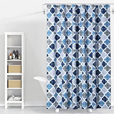Geometric Quatrefoil Patterned Modern Poly-Cotton Fabric Shower Curtain for Bathroom Washable 72  x 72  Multi Color, Navy/Blue/Grey