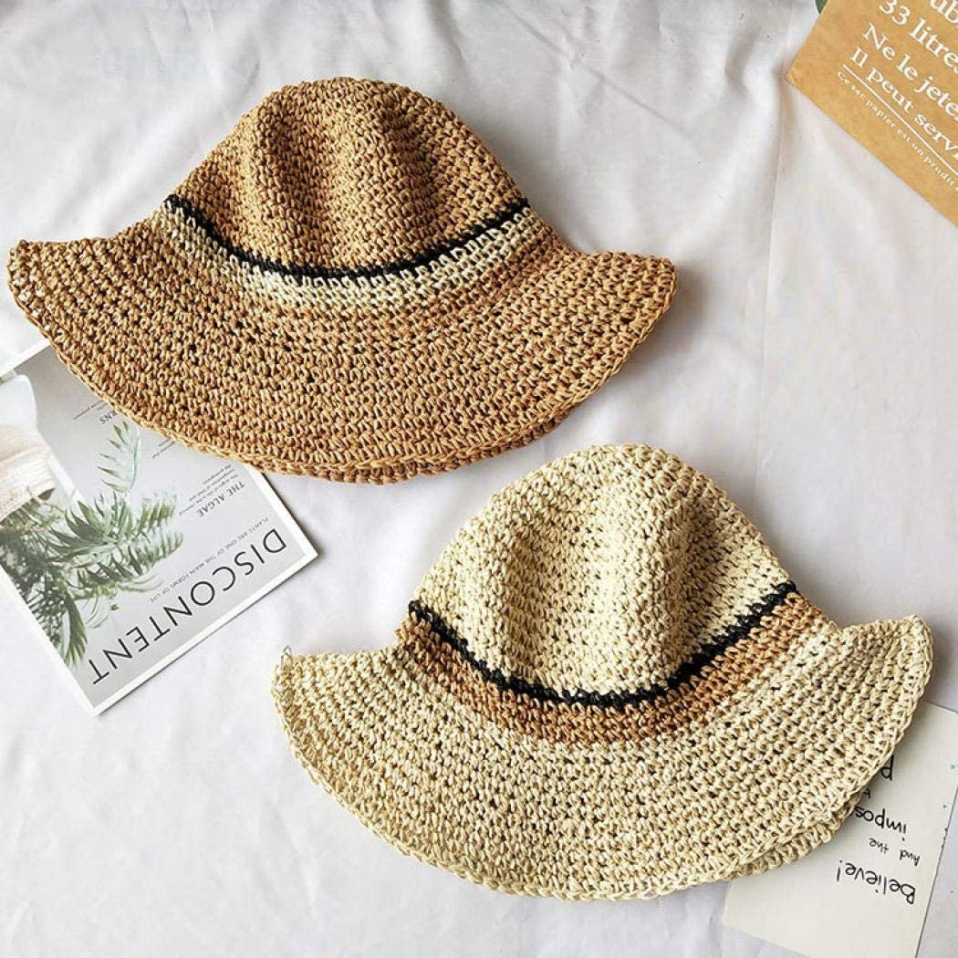 Foldable Kids Summer Wide Brim Floppy Straw Hat Beach Sun Protection Hats for Girls
