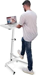 OCOMMO Height Adjustable Laptop Stand Lectern, Workstation with Foot Rest Bar, 28 Inch Pneumatic Adjustable Laptop Desk and Podium Laptop Table, White