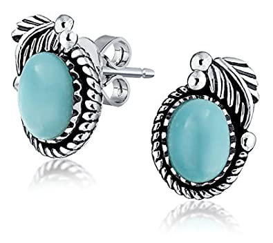 Bling Jewelry 925 Silver Natural Blue Larimar Basket Stud Earrings 0NHMcsA