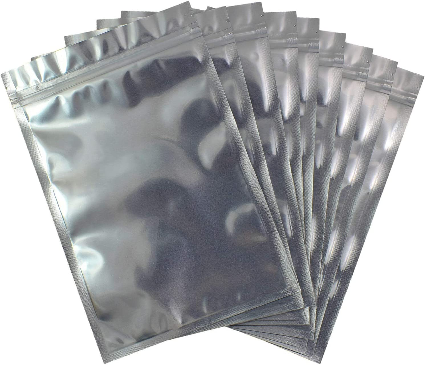 Smell Proof Bags Resealable Mylar Aluminum Packaging Storage Bag Transparent Plastic Ziplock Heat Seal (Silver)