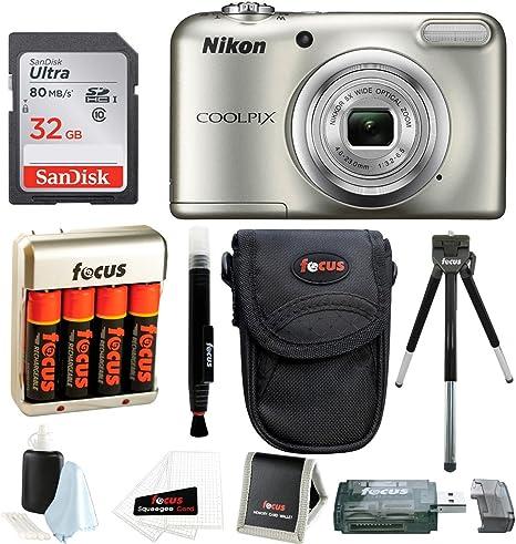 Cámara Digital Nikon Coolpix A10 con Tarjeta de 32 GB y baterías y ...