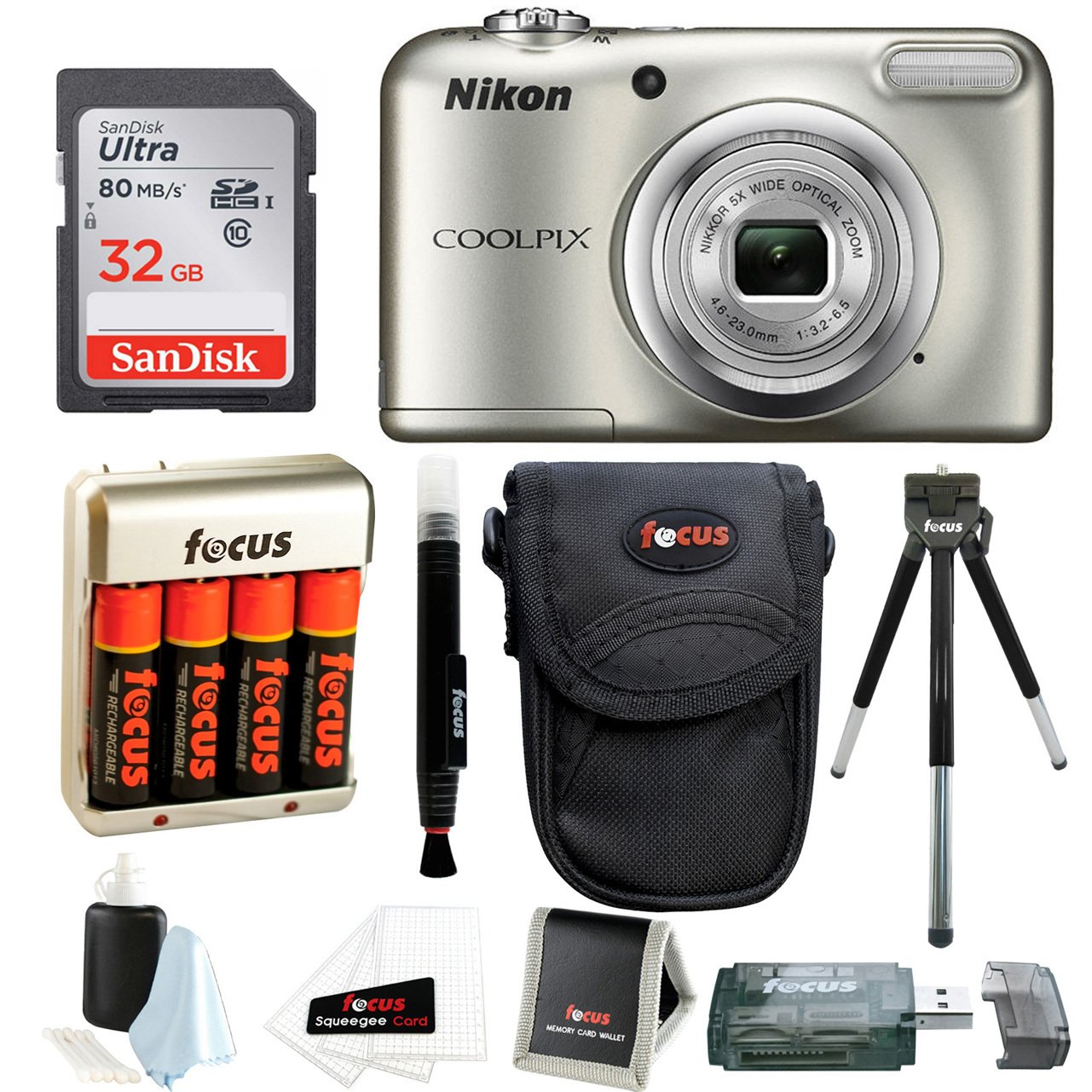 Nikon Coolpix A10 Digital Camera with 32GB Card and Batteries and Bundle by Nikon