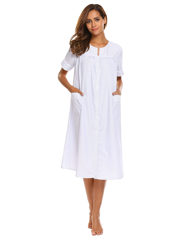 bdec8440c1b Ekouaer Women s Striped Sleepwear Button Down Duster Short Sleeve House  Dress Nightgown S-XXL at Amazon Women s Clothing store