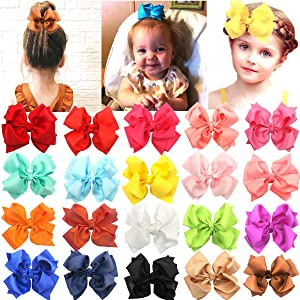 20 Colors Boutique 4 Inch Double Layer Grosgrain Ribbon Hair Bows Clips Hair Accessoriesfor Baby Girls Kids Children