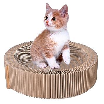 Petacc rascador para gato cama rascador para gato de carton reciclado corrugado, cama para gato para interior, juguete de gato, Amarillo (Cama Para Gato): ...