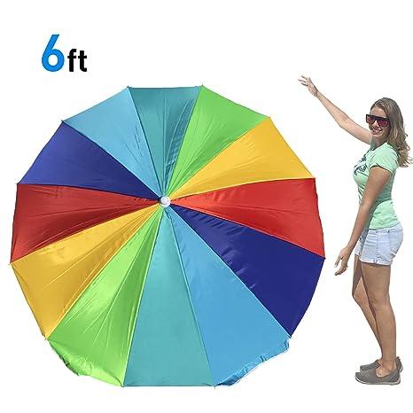 3e1bc92a0148 EasyGo Rainbow Beach Umbrella - Portable Wind Beach Umbrella Large -  Folding Beach Umbrella Set with