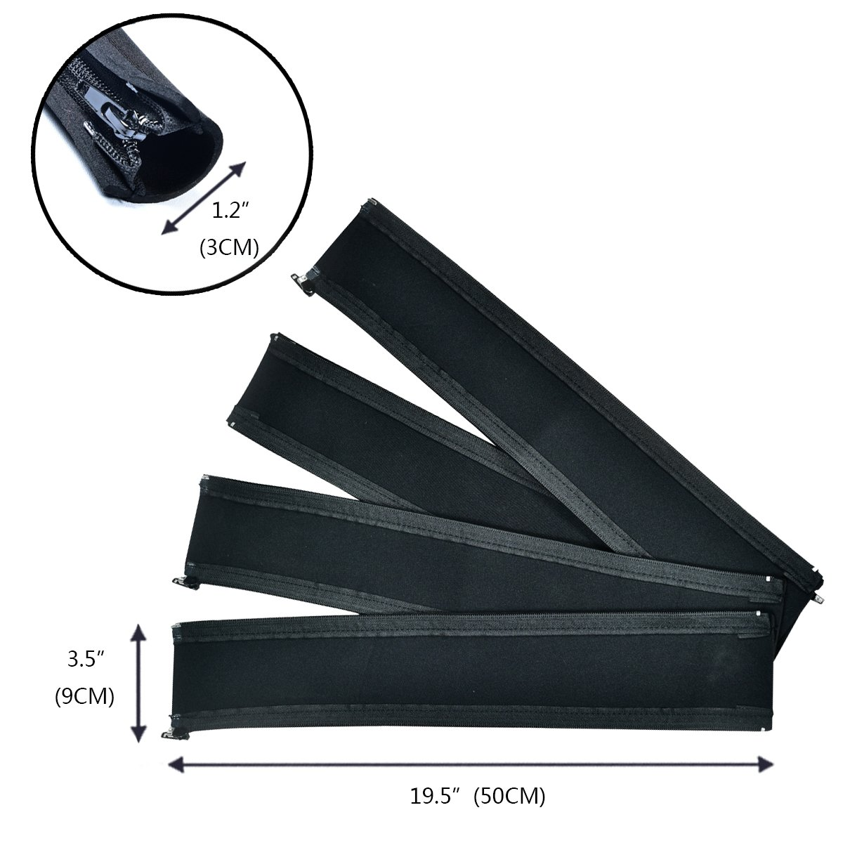 Cable Management Sleeve, Flexible Cable Organizers with Zipper for TV /Computer, 19.5 Inch Black Cord Covers ,4 Packs