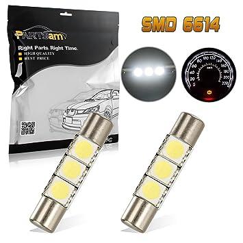partsam 5050 3-LED coche interior espejo luces visera lámparas 12 V 29 mm Festoon 6614 F (Pack de 2): Amazon.es: Coche y moto