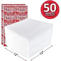 enKo 12 x 12 Inch (50-Pack) Foam Wrap Cushion Wrap Sheets for Moving Shipping Packing Supplies