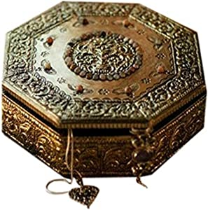 NOVICA Hand Crafted Repousse Brass Jewelry Box Metallic, Golden Treasures'