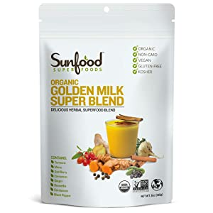 Sunfood Superfoods Golden Milk Super Blend- Organic. 6 oz Bag