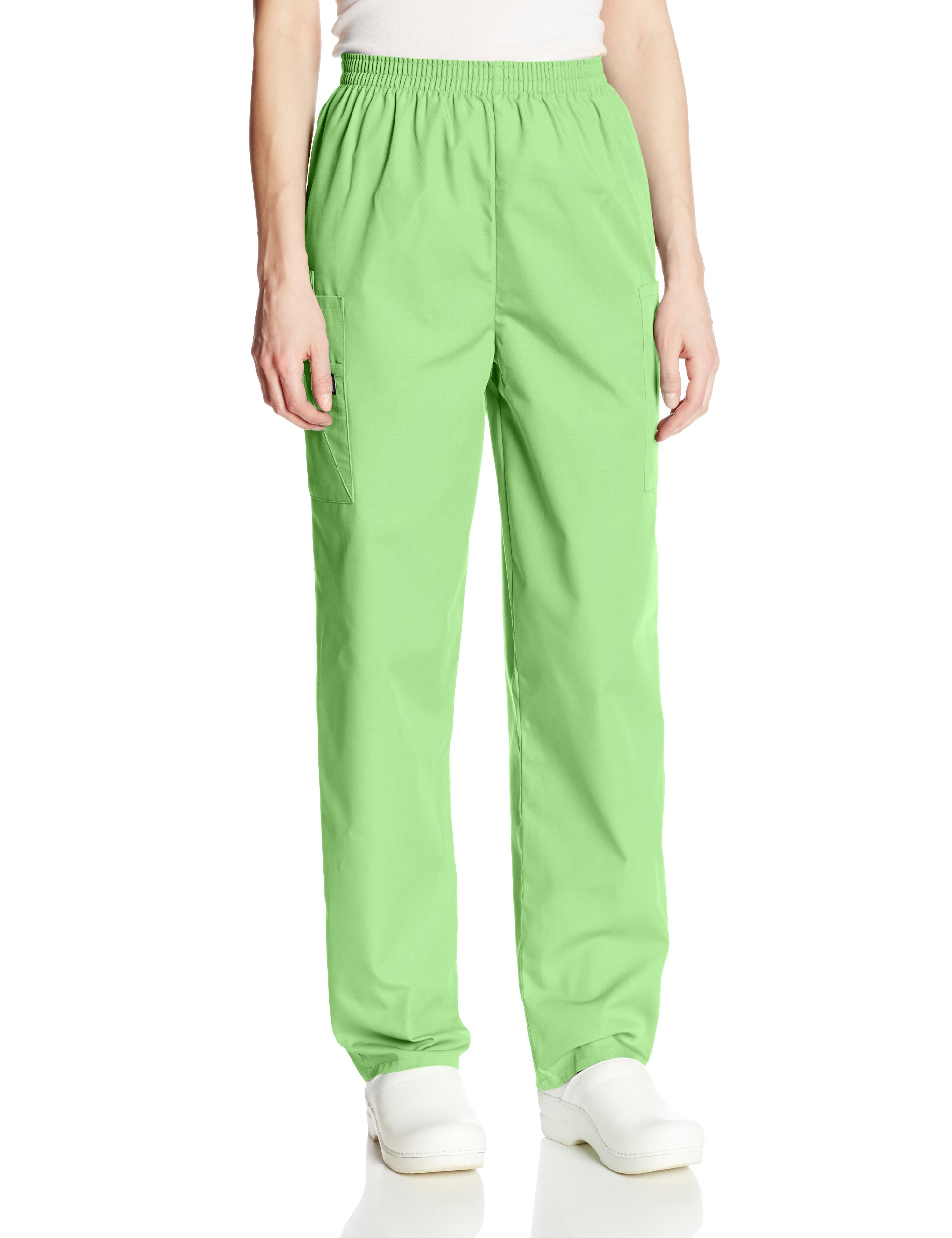 Cherokee Women's Workwear Scrubs Pull-On Cargo Pant, Lime Green, Large-Petite