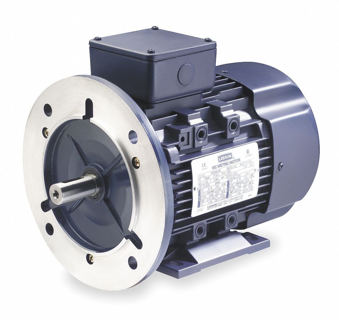 Leeson 1/3 HP Metric Motor,3-Phase,1705 Nameplate RPM,230/460 Voltage,Frame D71D