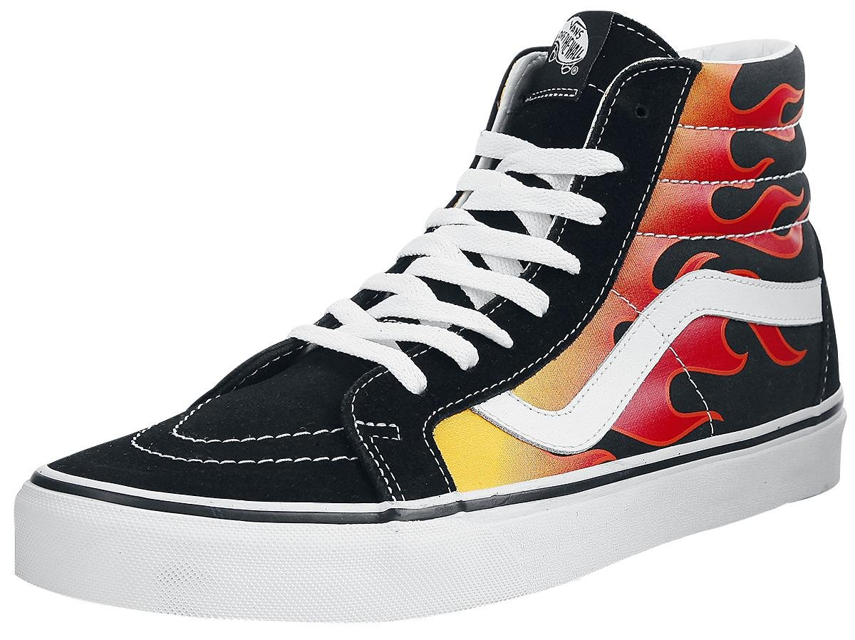 VANS MENS SK8 HI REISSUE LEATHER SHOES B01MYAJE31 12.5 B(M) US Women / 11 D(M) US Men|Flame Black